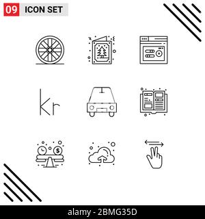 9 Universal Outlines Set for Web and Mobile Applications catalogue, passenger, seo, car, danish Editable Vector Design Elements - Stock Photo