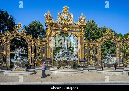 rococo Fountain of Neptune at Place Stanislas in Nancy, Meurthe-et-Moselle, Lorraine, France Stock Photo
