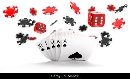 Casino background with Royal Flush hand combination, dice and flying black and red chips - Stock Photo