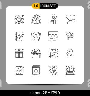 16 Universal Outlines Set for Web and Mobile Applications mobile, seo, seo, sort, filter Editable Vector Design Elements - Stock Photo
