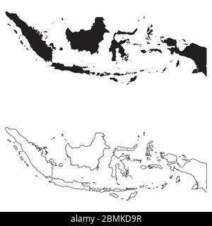 Indonesia Country Map. Black silhouette and outline isolated on white background. EPS Vector - Stock Photo