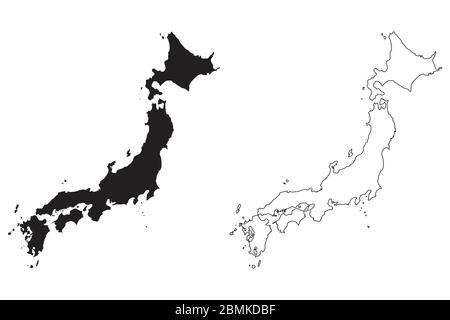 Japan Country Map. Black silhouette and outline isolated on white background. EPS Vector - Stock Photo