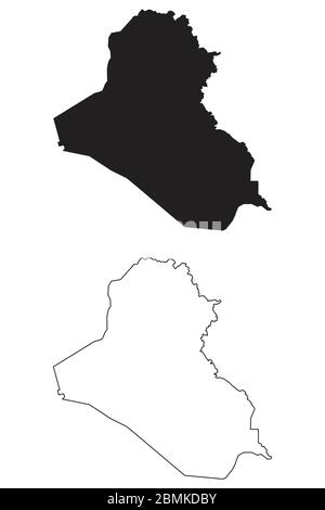 Iraq Country Map. Black silhouette and outline isolated on white background. EPS Vector - Stock Photo