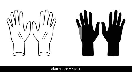 Gloves Set. Two black silhouette and outline gloves. PPE for Covid-19. EPS Vector Icon - Stock Photo
