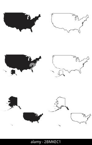 United States of America USA Country Map. Black silhouette and outline isolated on white background. EPS Vector