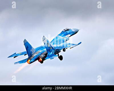 Ukrainian Air Force Sukhoi Su-27 (NATO reporting name: 'Flanker') flying at RIAT 2019 - Stock Photo