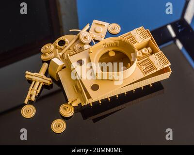 Unassembled plastic model kit Tiger in parts scale 1/35 German ww2 heavy tank armor - Stock Photo