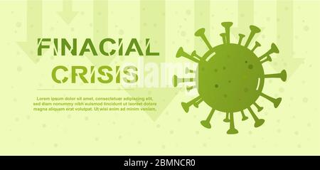 Global virus financial crisis with corona disease bacteria and down arrow graph. for your Infographic, Logo, symbol & how to prevent. Vector illustrat - Stock Photo