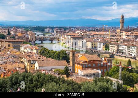 Florence, Italy - August 16, 2019: View of Florence Skyline and landscape of Tuscany, Italy