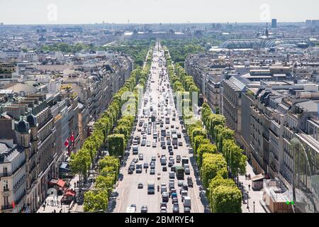 Paris. France - May 15, 2019: Avenue des Champs Elysees. View from Arc de Triomphe in Paris. France. - Stock Photo