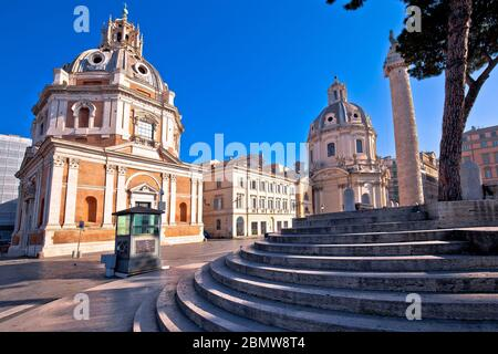 Empty streets of Rome.view of Santa Maria di Loreto in eternal city of Rome, capital of Italy. Stock Photo