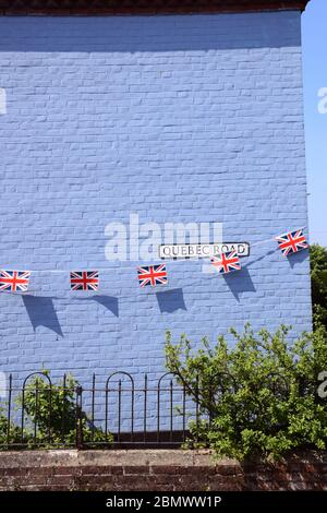 Bunting for 75th anniversary of VE Day, Norwich UK May 2020.  All celebrations cancelled during to Coronavirus lockdown. - Stock Photo