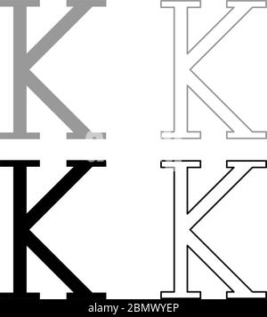 Kappa greek symbol capital letter uppercase font icon outline set black grey color vector illustration flat style simple image - Stock Photo