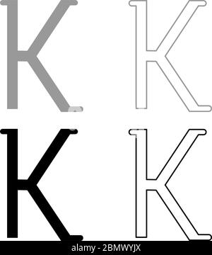 Kappa greek symbol small letter lowercase font icon outline set black grey color vector illustration flat style simple image - Stock Photo