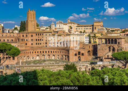 ROME, ITALY - SEPTEMBER 23, 2018: Trajan market in Rome, Italy. Trajan's Market is a large complex of ruins in Rome, founded at 113 - Stock Photo