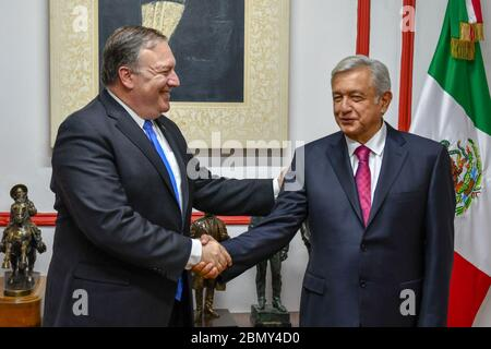 Secretary Pompeo Meets With Mexican President- Elect Obrador U.S. Secretary of State Michael R. Pompeo meets with Mexican President-elect Andres Manuel Lopez Obrador in Mexico City, Mexico on July 13, 2018. - Stock Photo