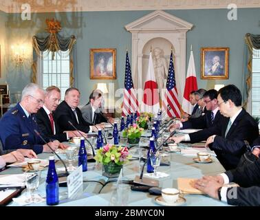 "Secretary Pompeo and Acting Secretary of Defense Shanahan Host the Security Consultative Committee ('2+2') Meeting U.S. Secretary of State Michael R. Pompeo and Acting Secretary of Defense Patrick Shanahan host Japanese Foreign Minister Taro Kono and Defense Minister Takeshi Iwaya for a Security Consultative Committee (""2+2"") meeting at the U.S. Department of State in Washington, D.C., on April 19, 2019. - Stock Photo"