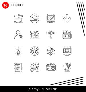 User Interface Pack of 16 Basic Outlines of user, basic, monitor, download, down Editable Vector Design Elements - Stock Photo
