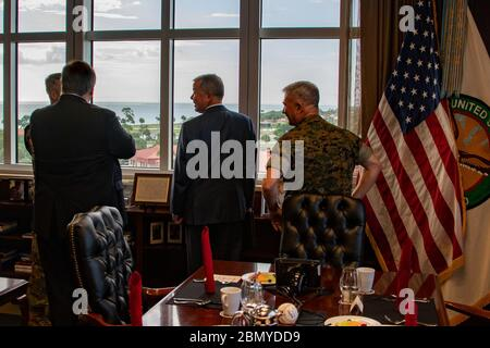 Secretary Pompeo Attends a Working Breakfast  With CENTCOM & SOCOM Commanders U.S. Secretary of State Michael R. Pompeo attends a working breakfast at the United States Central Command and the United States Special Operations Command at MacDill Air Force Base in Tampa, Florida, June 18, 2019. - Stock Photo