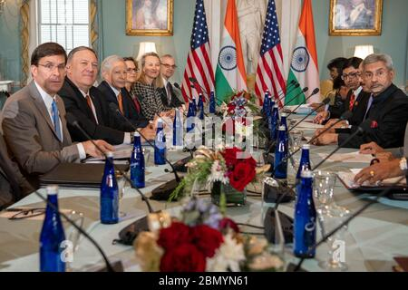 Secretary Pompeo and Secretary of Defense Esper Host the India 2+2 Ministerial Dialogue Secretary of State Michael R. Pompeo and Secretary of Defense Mark T. Esper host the India 2+2 Ministerial Dialogue at the U.S. Department of State, in Washington, DC, on December 18, 2019. - Stock Photo