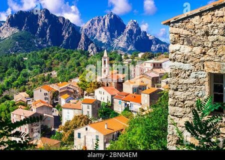 Evisa - small picturesque mountain village in splendid mountains of Corsica island,France. - Stock Photo