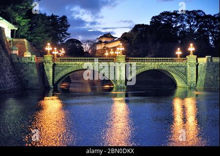 Imperial Palace Main Gate Bridge, Ishibashi, Night, At Christmas,  Chiyoda City, Tokyo, Japan - Stock Photo