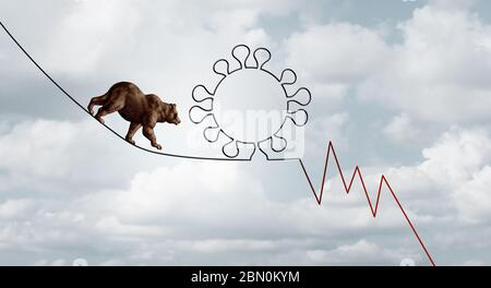 Bear market virus pandemic outbreak business concept of a financial risk as a bearish stock market symbol on a tight rope shaped as a virus. - Stock Photo