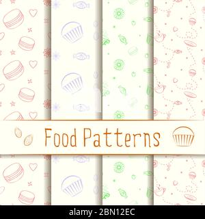 Set of retro vector patterns with hand drawn elements, desserts and sweets. Collection of unique and elegant seamless food backgrounds with dessert as - Stock Photo