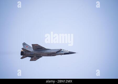 Russia, Khabarovsk - May 9, 2020: MiG-31BM upgraded all-weather fighter interceptor air defense . Parade in honor of victory. Military air parade in - Stock Photo