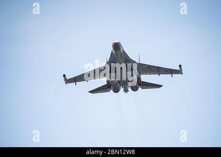 Russia, Khabarovsk - May 9, 2020: Su-35S multi-functional fighter of generation 4 . Parade in honor of victory. Military air parade in honor of - Stock Photo