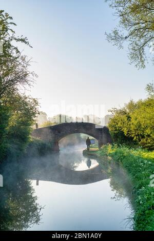 Man walking along the towpath under a brick bridge on the Oxford canal on a spring morning just after sunrise. Upper Heyford, Oxfordshire, England - Stock Photo