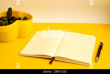 Cactus and Blank notebook with pen on yellow background, Freelance working environment view , copy space - Stock Photo