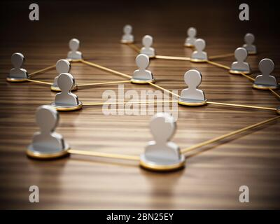 Lines connecting white 3D head symbols. Connectivity and network concept. 3D illustration.