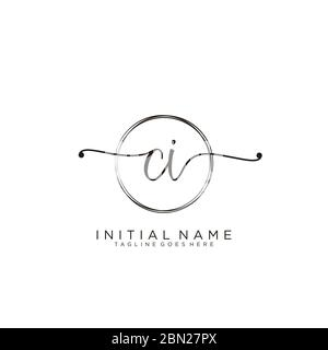 Initial CI handwriting logo with circle template vector - Stock Photo