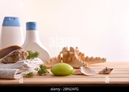 Thalassotherapy products for body treatment with white isolated background. Front view. Horizontal composition. - Stock Photo