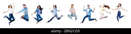 Funky, joy, diversity, social ethnic concept. Collage picture of different nine cheerful people expressing happiness, jumping, having fun, wearing - Stock Photo