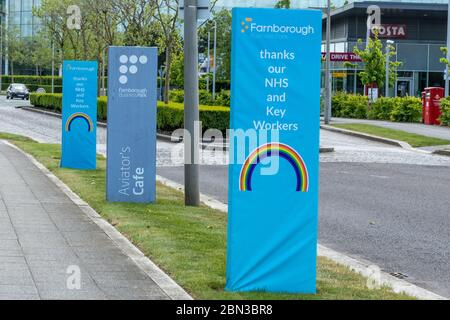 Rainbow signs at Farnborough Business saying thanks to our NHS and key workers during the 2020 coronavirus covid-19 pandemic, UK - Stock Photo