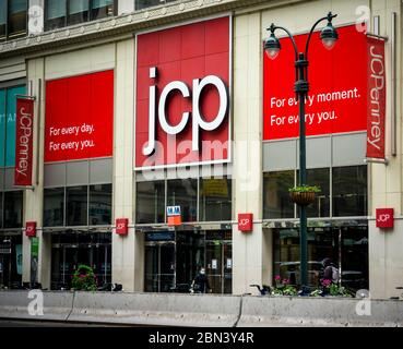 The JCPenney store in Herald Square in New York on Friday, May 8, 2020. The J.C. Penney Co. is reported to be preparing to file for bankruptcy protection as early as next week. (© Richard B. Levine) - Stock Photo