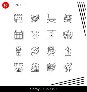 User Interface Pack of 16 Basic Outlines of colander, goals, romance, darts, rest Editable Vector Design Elements - Stock Photo