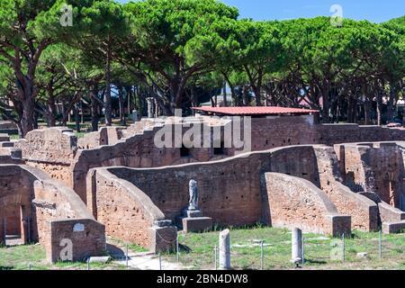 Terme di Nettuno, Baths of Neptune, Ostia Antica, Ostia, Italy - Stock Photo