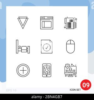 9 Universal Outlines Set for Web and Mobile Applications selected, complete, budget, people, bed Editable Vector Design Elements - Stock Photo