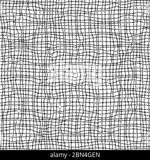 Horizontal and vertical crossing wavy thin uneven lines seamless pattern. Abstract wrapping texture in black and white colors. Vector eps8 illustratio Stock Photo