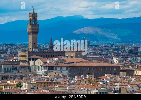 Florence, Italy - August 16, 2019: View of Florence Skyline with Palazzo Vecchio and landscape of Tuscany, Italy
