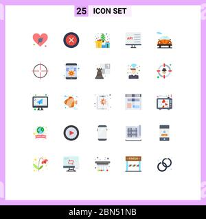 Set of 25 Modern UI Icons Symbols Signs for automobile, develop, tree, computer, app Editable Vector Design Elements - Stock Photo