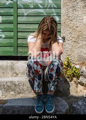 Teengirl is sad - Stock Photo