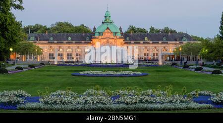 Spring in the spa garden Bad Oeynhausen, Kaiserpalais, illuminated, Bad Oeynhausen, Germany - Stock Photo