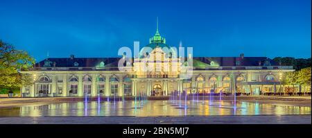 Illuminated spa gardens, Kaiserpalais, Panorama, Bad Oeynhausen, Germany - Stock Photo