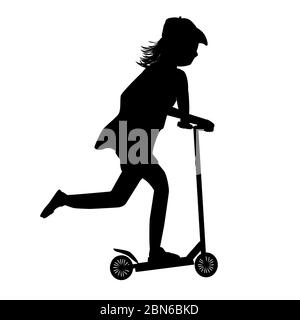 Child riding scooter silhouette isolated on white background. Roller sport. City transport rent or bike sharing for riding and fun. Stock vector - Stock Photo