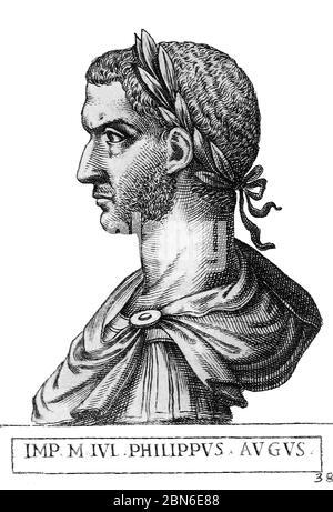 Italy: Philip the Arab (204-249), 33rd Roman emperor, from the book Romanorvm imperatorvm effigies: elogijs ex diuersis scriptoribus per Thomam Treter