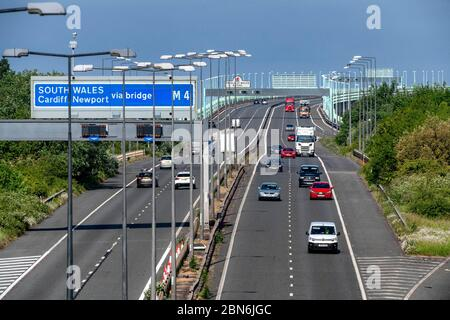 13.05.20. Coronavirus Pandemic.  Commuters driving on the M4 motorway across the Prince of Wales Bridge between England and Wales this morning, after - Stock Photo